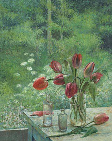 giclee-harry-meerveld-tulpen-tegen-bosrand
