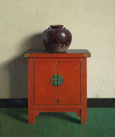 giclee-henk-helmantel-chinese-pot-op-rode-kast