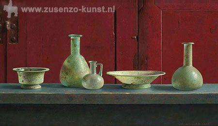 giclee-henk-helmantel-romeins-glas-voor-rode-kast