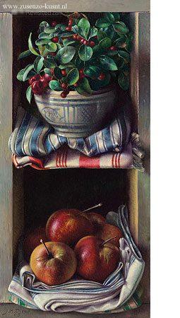 giclee-jef-diels-kastje-met-sneeuwbes-en-appels