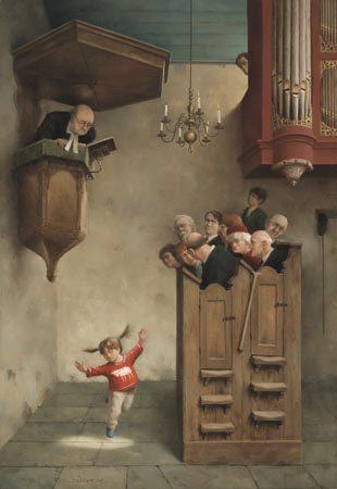 giclee-marius-van-dokkum-dansje-in-de-kerk