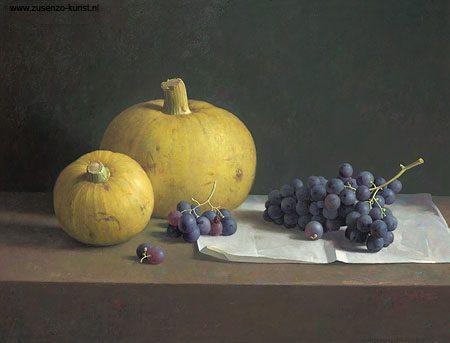 giclee-stilleven-met-druiven-en-sierkalabassen