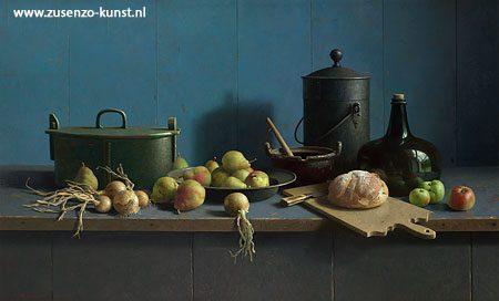 henk-helmantel-stilleven-brood-fruit